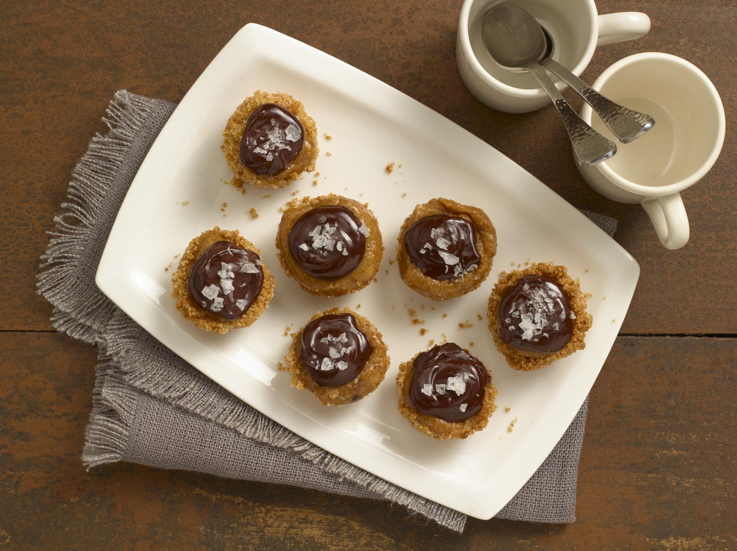 Chocolate and Coconut-Caramel Tartlets