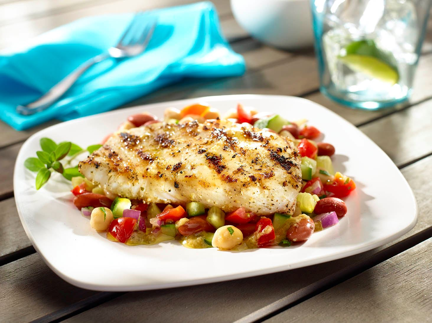Grilled Herb-Rubbed Halibut