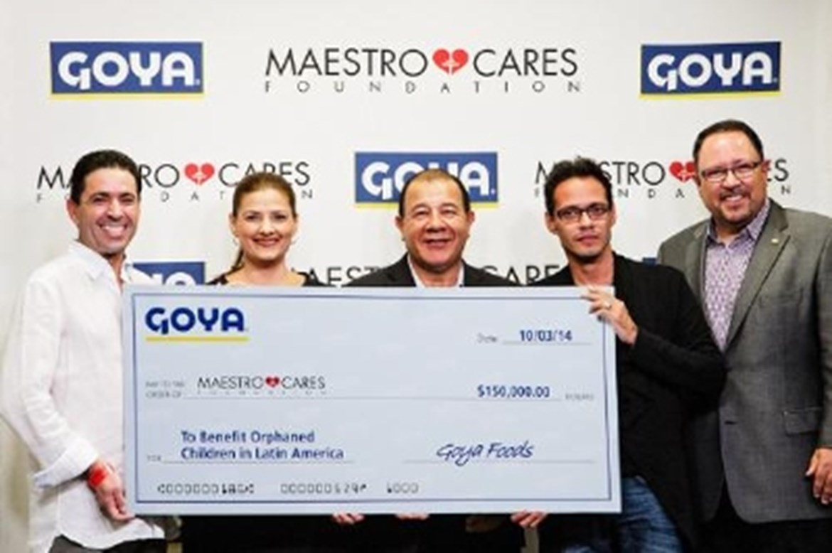 GOYA FOODS DONATES $150,000 TO THE MAESTRO CARES FOUNDATION TO BENEFIT ORPHANED CHILDREN IN LATIN AMERICA