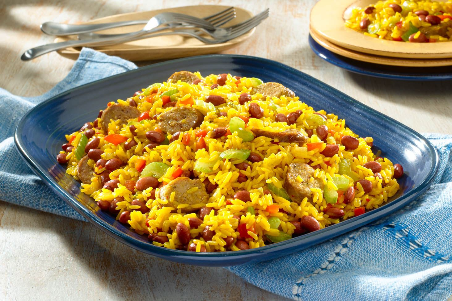 Yellow Rice with Red Beans and Sausage