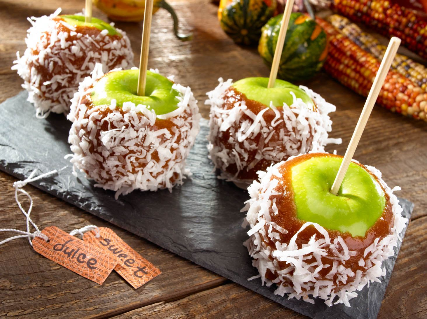 Coconut Caramel Apples