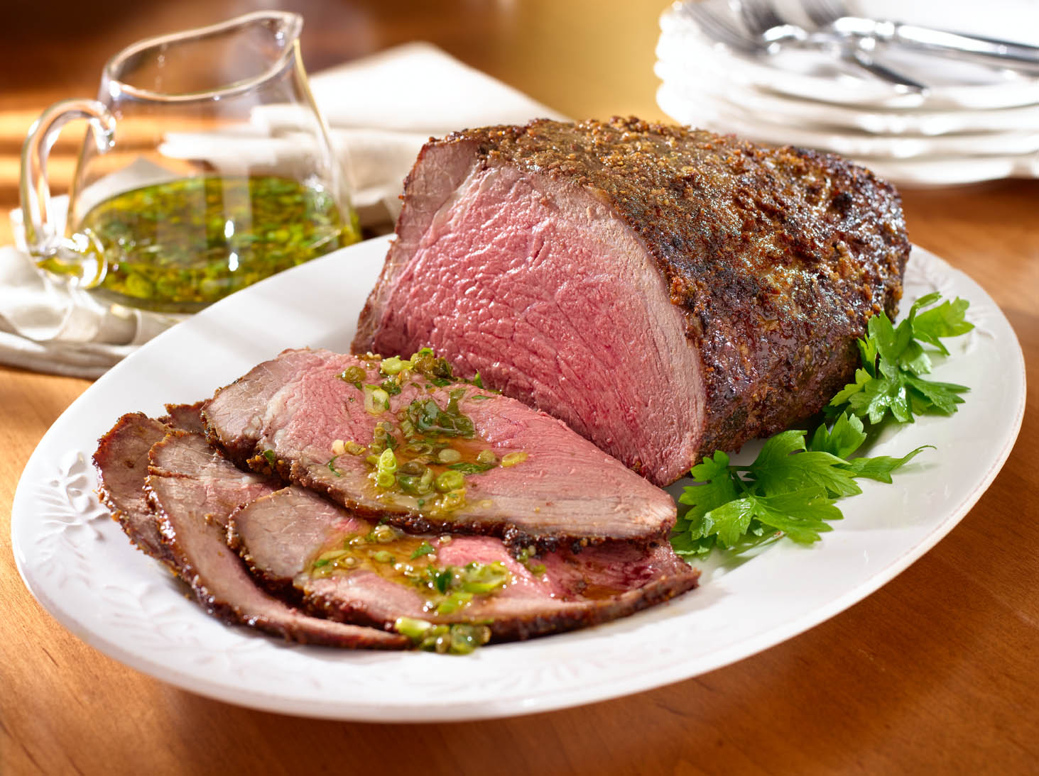 Herbed Beef Roast with Caper Sauce