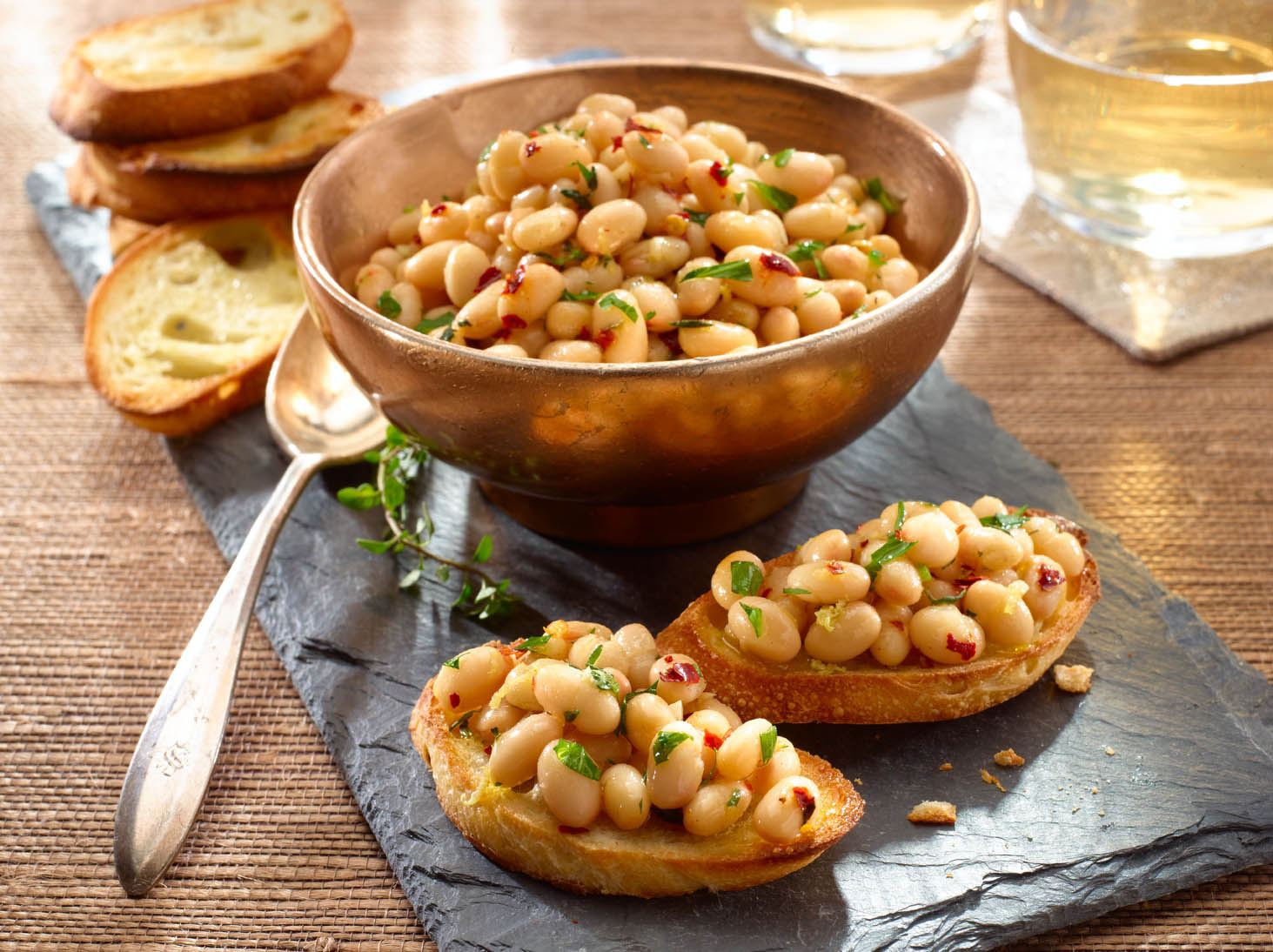Small White Beans on Garlic Toasts