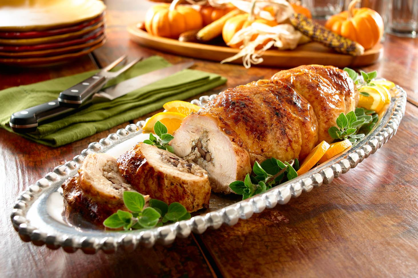 Turkey Breast Stuffed with Rice and Beans