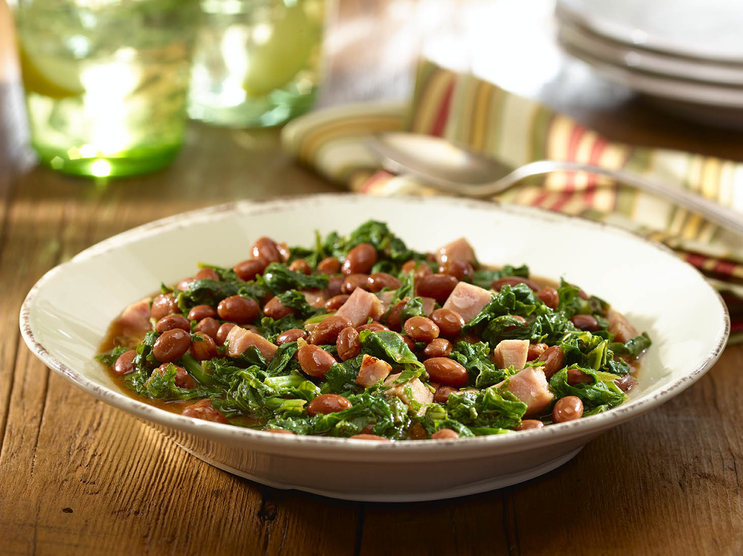 Braised Kale with Pink Beans and Ham