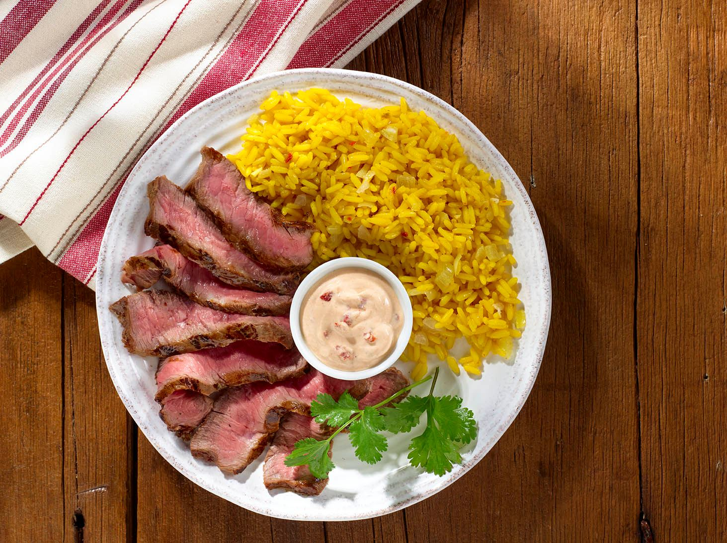 Chipotle-Spiced Steak with Garlic Yellow Rice