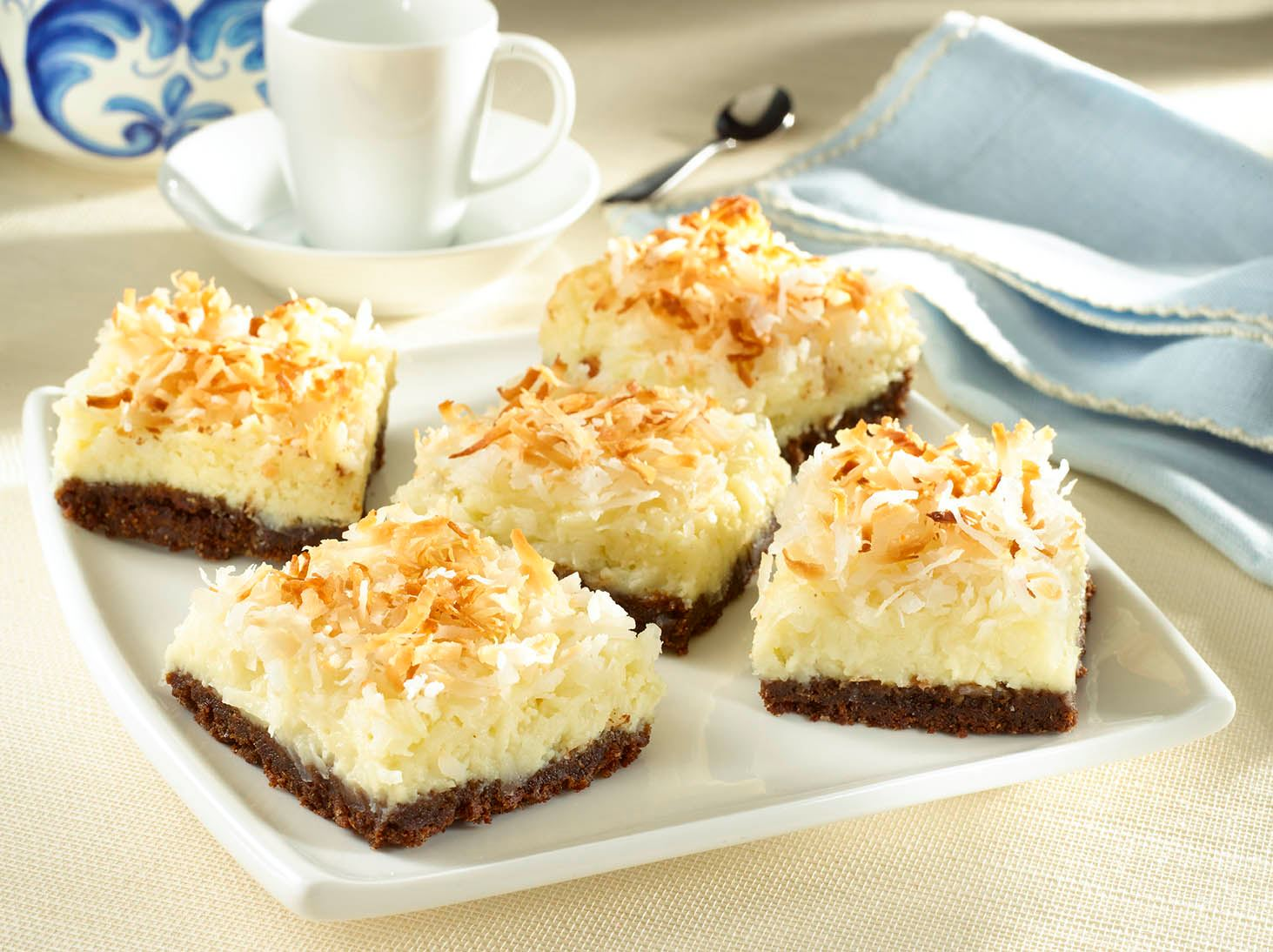 Barritas de Cheesecake de Coco