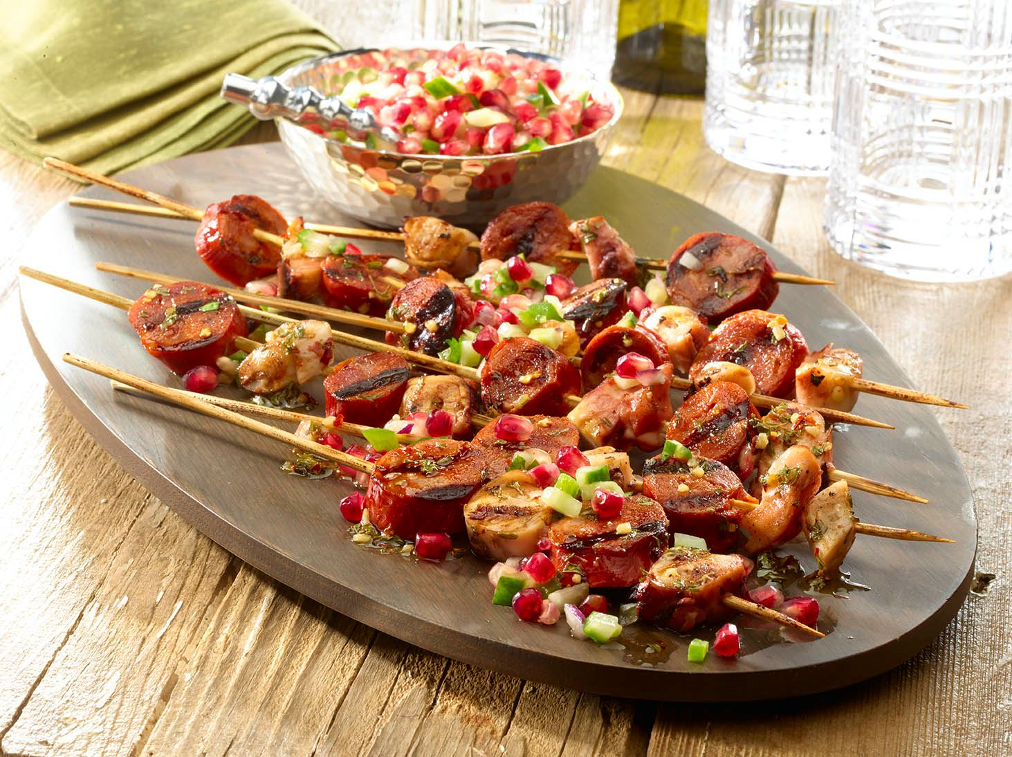 Grilled Octopus and Chorizo Skewers with Pomegranate Salsa
