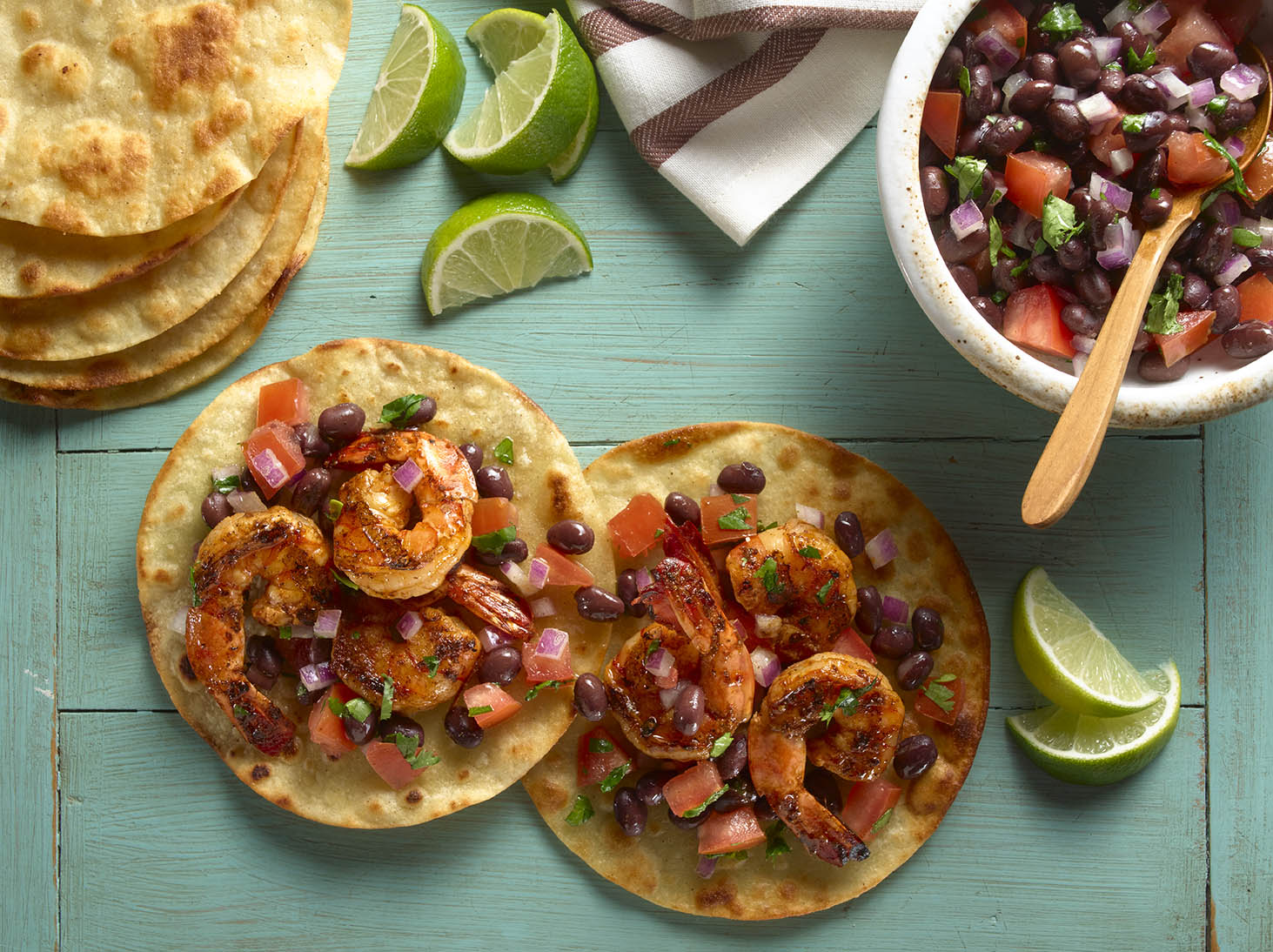 Grilled Shrimp Tostadas with Black Bean Salsa