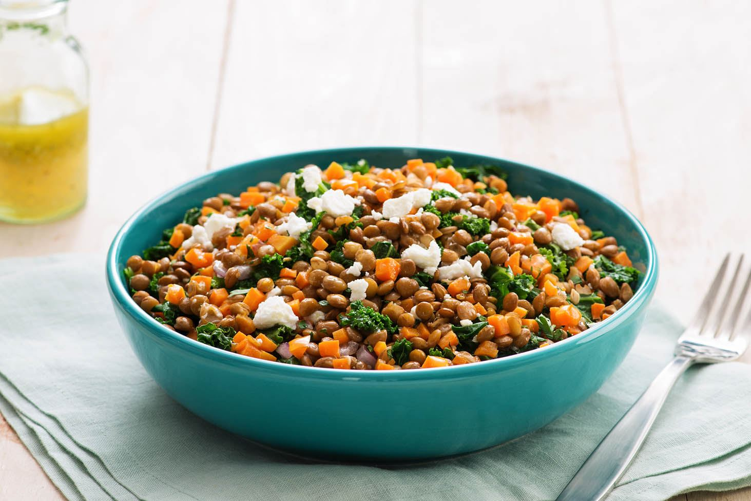 Kale and Lentil Salad with Goat Cheese
