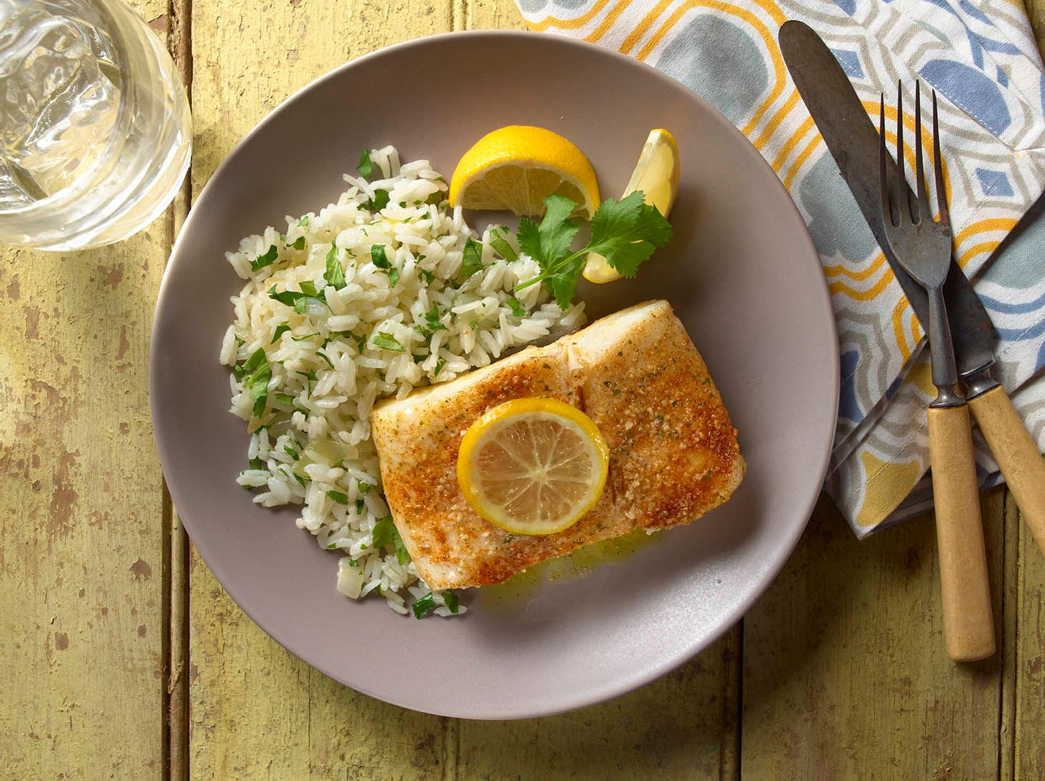 Lemon-Cilantro Steamed Halibut with Herbed Jasmine Rice