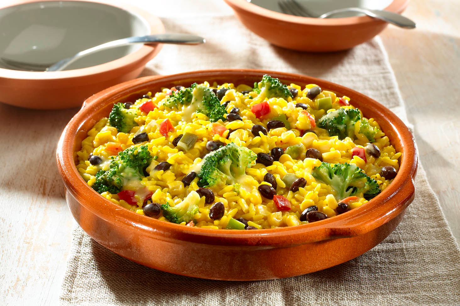 Myplate Spanish Rice With Broccoli Black Beans Cheese
