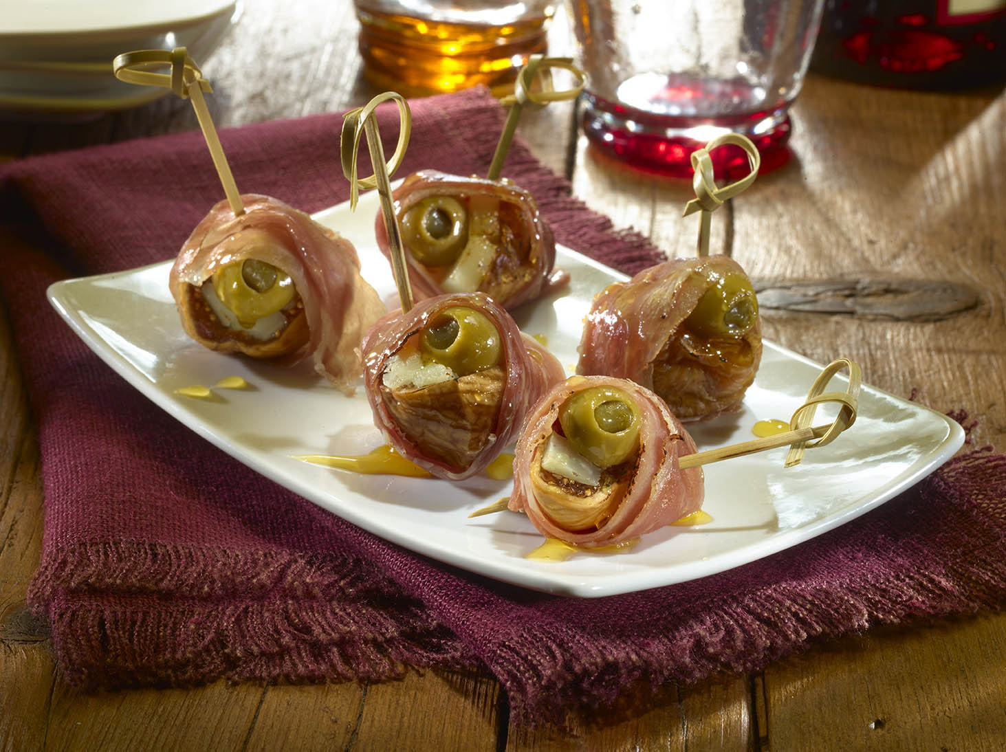 Serrano-Wrapped Fig and Olive Bites