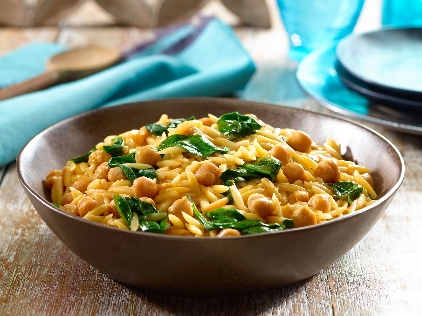 Skillet Orzo with Chick Peas and Spinach