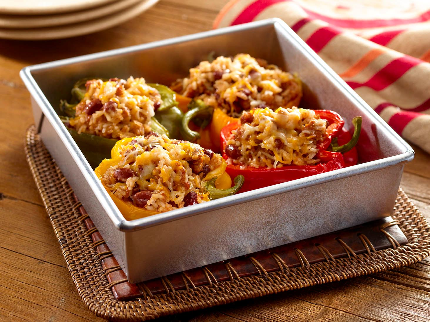 Stuffed Peppers with Rice, Red Beans and Cheese