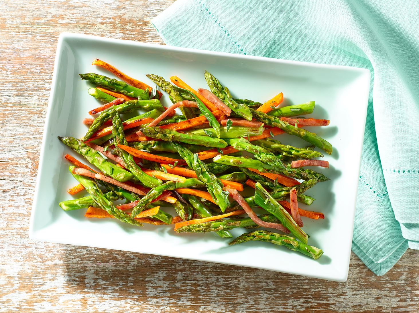 Roasted Asparagus and Carrots with Crispy Serrano Ham