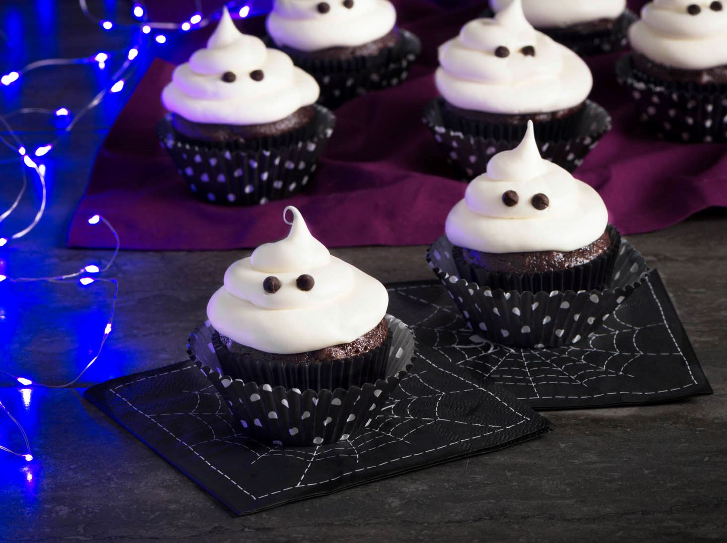 Chocolate Ghost Cupcakes with Beet and Guava