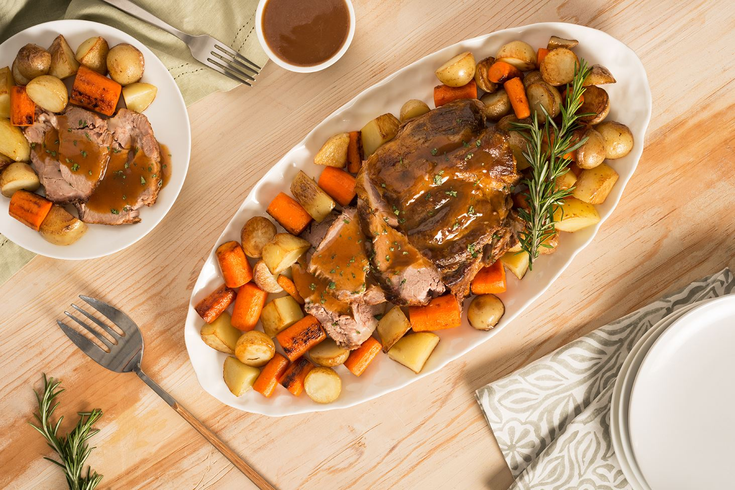 Beer-Roasted Mojo Pork with Potatoes and Carrots
