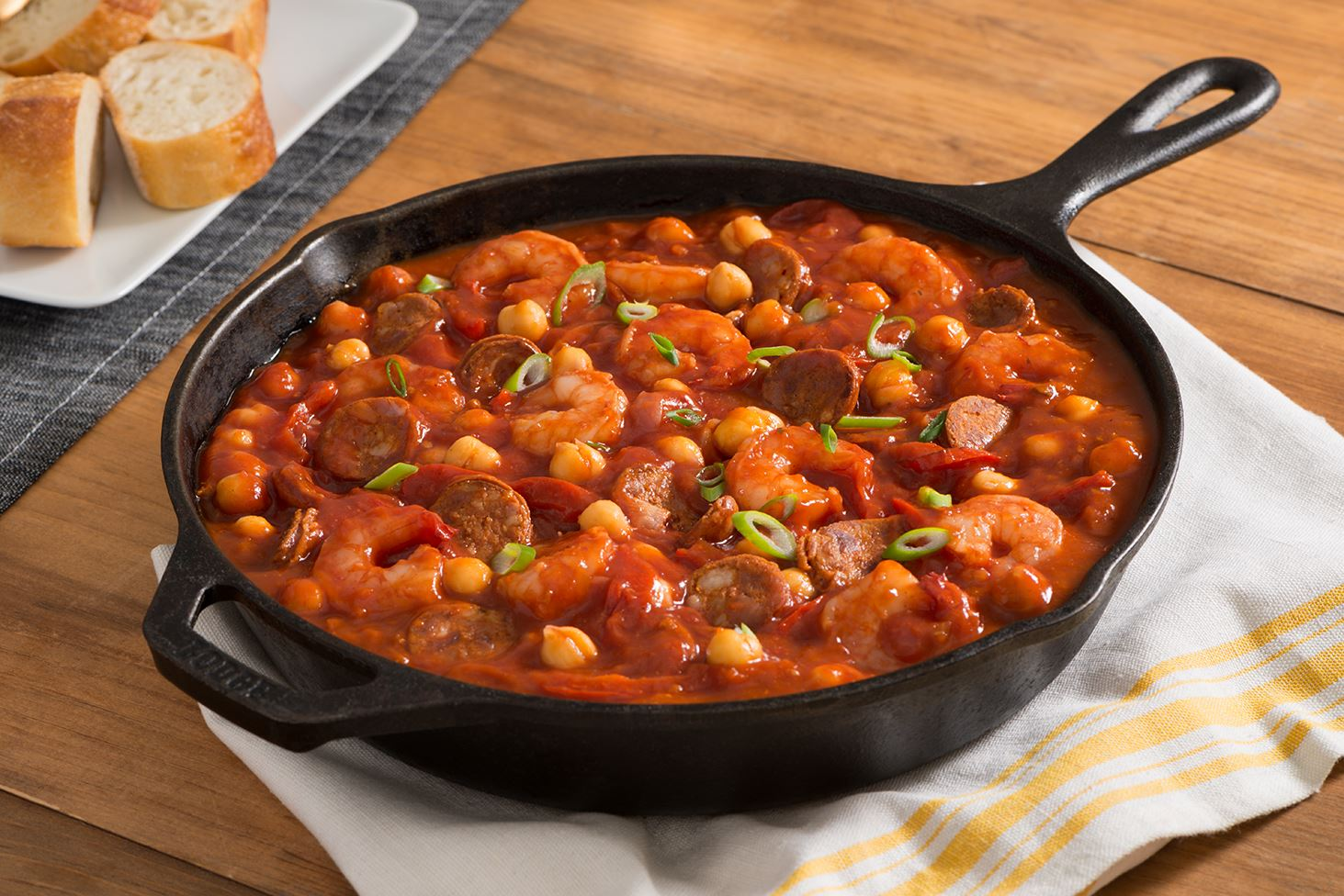 Chick Pea Skillet with Chorizo and Shrimp